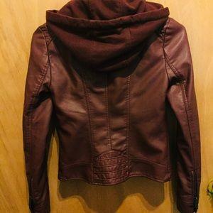 American Rag Jackets & Coats - Maroon Faux Leather American Rag Moto Jacket XXS